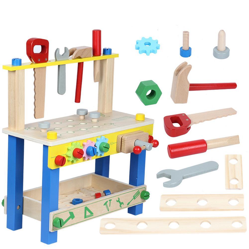 Proyecto de madera sólida, banco de trabajo, juego de tuercas, juego de construcción, juguete interactivo inteligente, educación temprana para niños y niñas