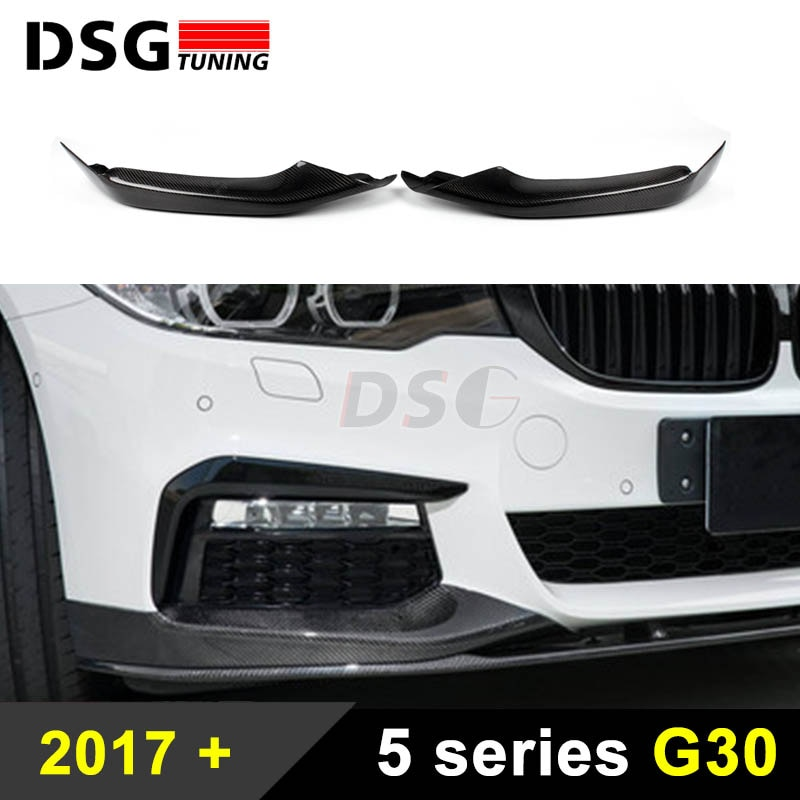 Separador de parachoques delantero para BMW G30 G31 Sport Sedan fibra de carbono frontal Lip 5 serie 2017 2018 estilo de coche