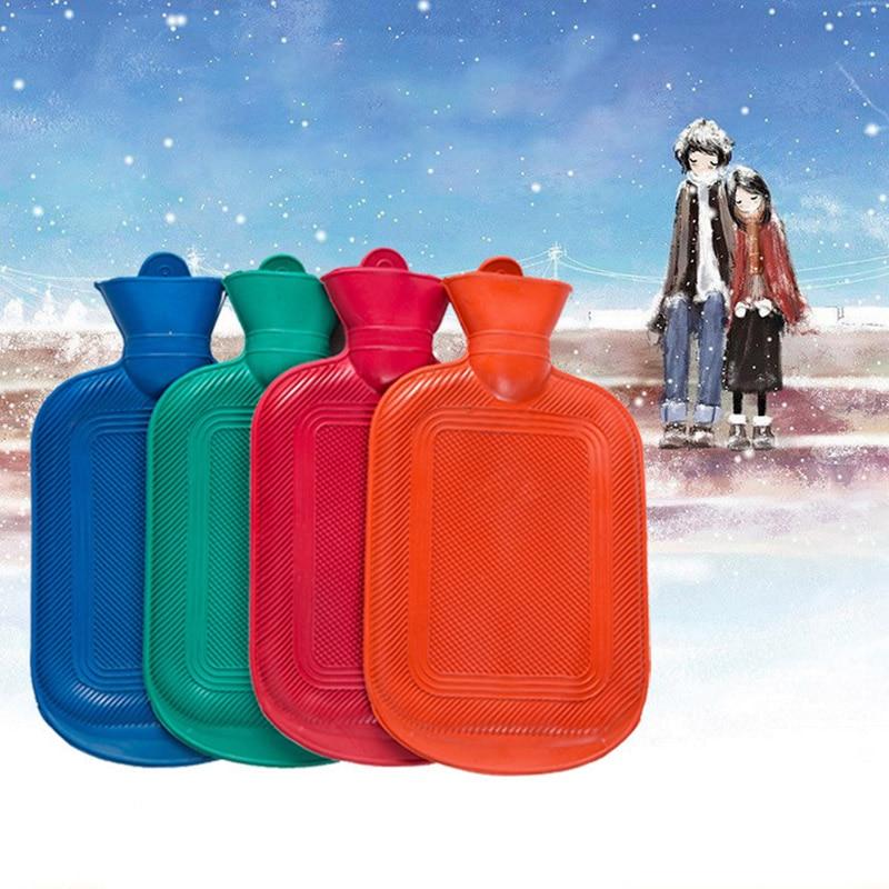 Bolsa de agua caliente de goma de 500ML para calentar manos botellas de agua saco térmico de invierno botellas de agua caliente respetuoso con el medio ambiente reutilizable al azar