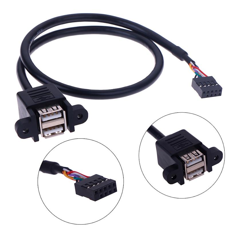 1 pces 30cm/50cm placa-mãe interna 9pin para porta dupla usb 2.0 um parafuso fêmea painel de bloqueio montagem cabo extensão cabo adaptador