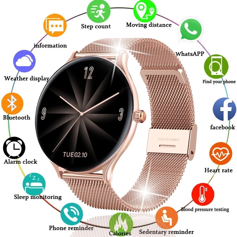2021 fashion Full circle touch screen Color Screen Smart Watch Women men Sport Heart Rate Blood Pres