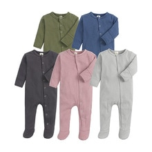 Newborns Baby Rompers Cotton Baby Girls Clothes Baby Boys Pyjama Footed Sleepwear Solid Jumpsuit for