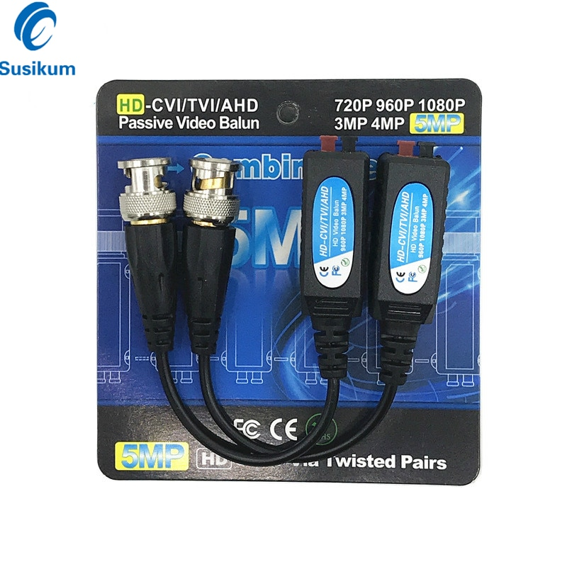 20PCS / 10Pairs 5MP CCTV Camera Passive BNC Video Balun to UTP Transceiver Connector 2000ft Distance Twisted Cable UP To 300M enlarge