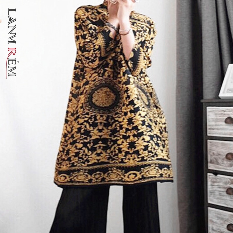 LANMREM 2021 فستان الخريف خمر موضة جديدة ذوي الياقات العالية الرجعية طباعة مزاجه فساتين طويلة الأكمام الإناث أنيقة PA597
