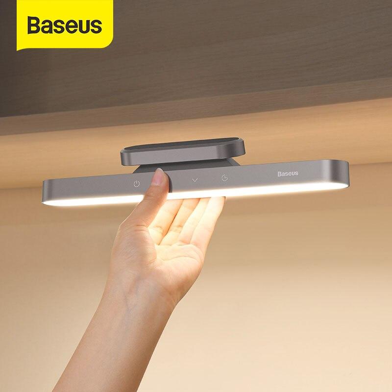 Baseus-مصباح طاولة مغناطيسي ، قابل لإعادة الشحن عبر USB ، إضاءة LED للمكتب أو غرفة النوم أو غرفة النوم