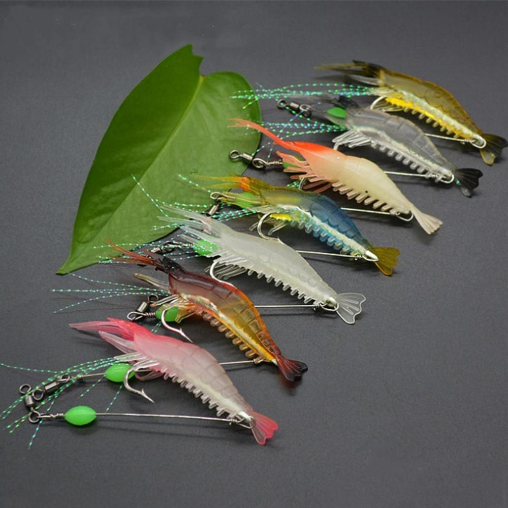 Tackle Shrimp Lure Carp Fishing 8cm 5g Fishing Bait Luminous Shrimp Silicon Soft Artificial Bait with Hooks Swivels 7Pcs