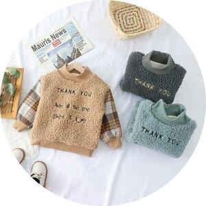 Kids Pullovers Sweatshirt 2020 Winter New Baby boy Girl Fleece Warm Tops Fashion letter Boys Plus Velvet Warm Sweater 1-5Years