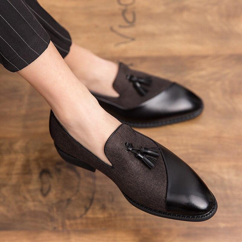 العلامة التجارية الفاخرة أحذية الرجال موضة لينة الأخفاف حذاء رجالي جودة عالية الجلود شرابة أحذية رجالي أحذية قيادة مسطحة كبيرة الحجم 48