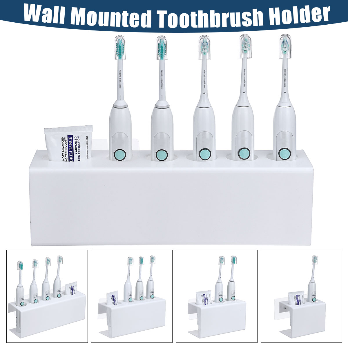 1/2/3/4/5 White Acrylic Wall Mounted Holder Electric Toothbrush & Toothpaste Storage Holder Bathroom