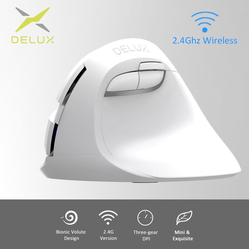 Delux M618 Mini GX white 2.4GHz Ergonomic Vertical Mouse Wireless Relieve wrist fatigue 1600 DPI Small and cute Vertical Mice