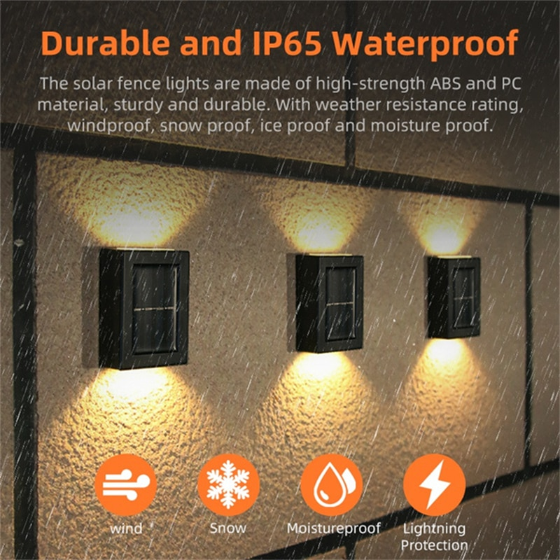 8 Pcs 2LED Ooutdoor Solar Lights Up and Down IP65 Waterproof Sunlight Powered Wall Lamp for Garden Decoration Outdoor Solar Lamp enlarge