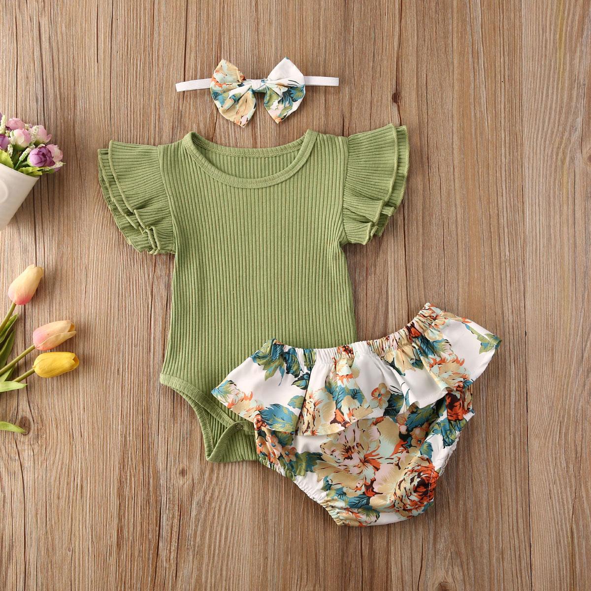 Emmababy, ropa para niña recién nacida, mono con manga de mosca de Color liso, Tops, pantalones cortos con estampado de flores y volantes, diadema, trajes de 3 uds