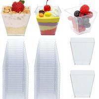 100PCS 60ML Transparent Dessert Cups Trapezoid Square Cake Cup Food Grade Portion Cups Jelly Yogurt Mousses Dessert Baking