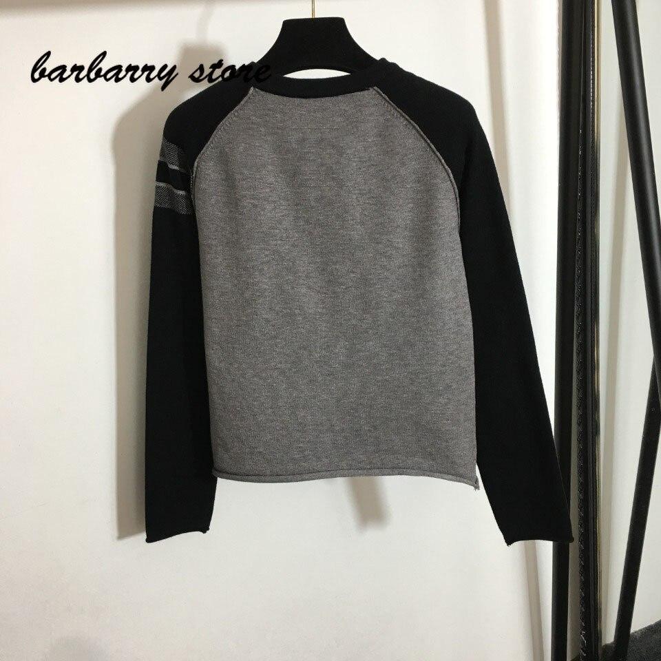 21 luxury design pentagonal Star printing fashion women's round neck long sleeve Pullover temperament versatile knitted sweater enlarge