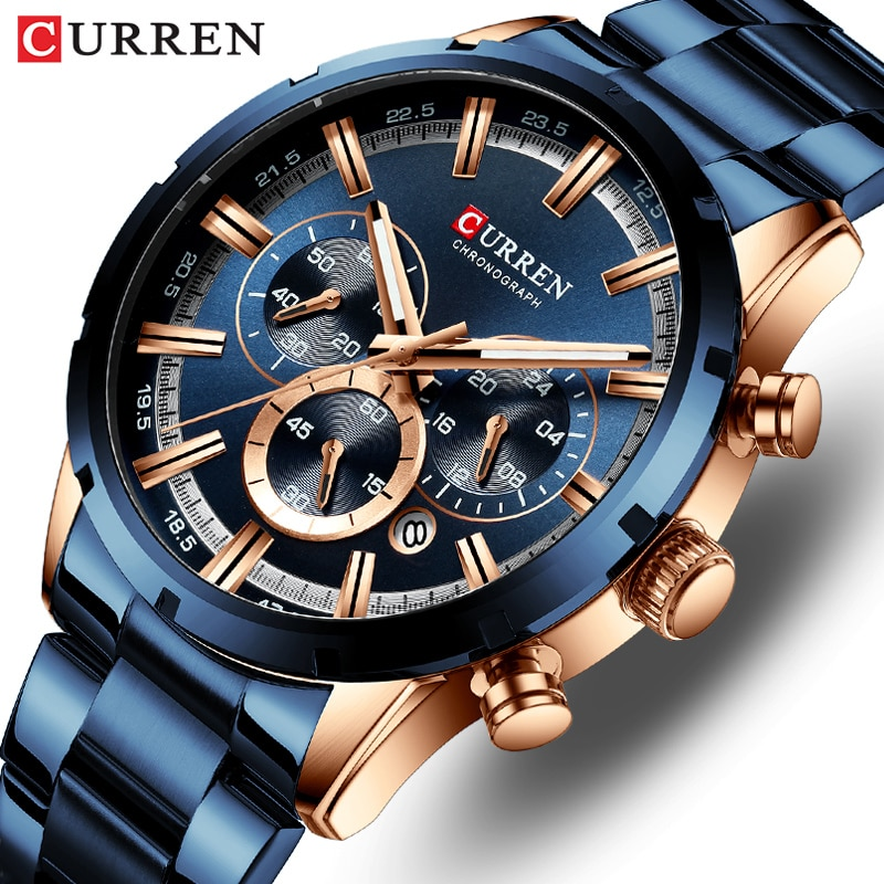 CURREN Men Watch Top Brand Luxury Sports Quartz Mens Watches Full Steel Waterproof Chronograph Wrist