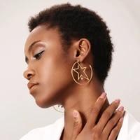 enfashion star hoop earring gold color earing stainless steel big hoops earrings for women fashion jewelry wholesale ed181079