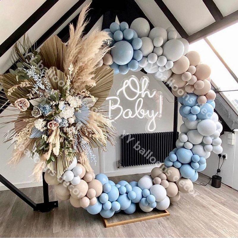 Balloons Garland Arch Kit Macaron Blue Gray Baby Shower Retro Skin Globos Birthday Party Wedding Anniversary Decoration