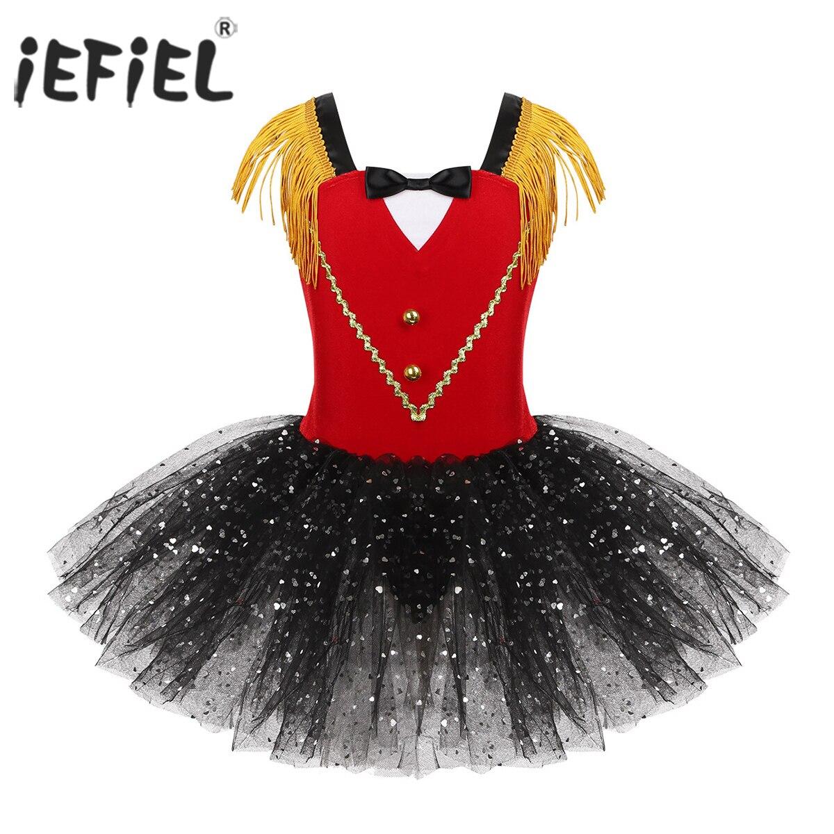 Kids Girls Halloween Circus Ringmaster Costume Dancewear hip hop Tassel Sweetheart Sequins Tutu Gymnastics Leotard Dance Dress