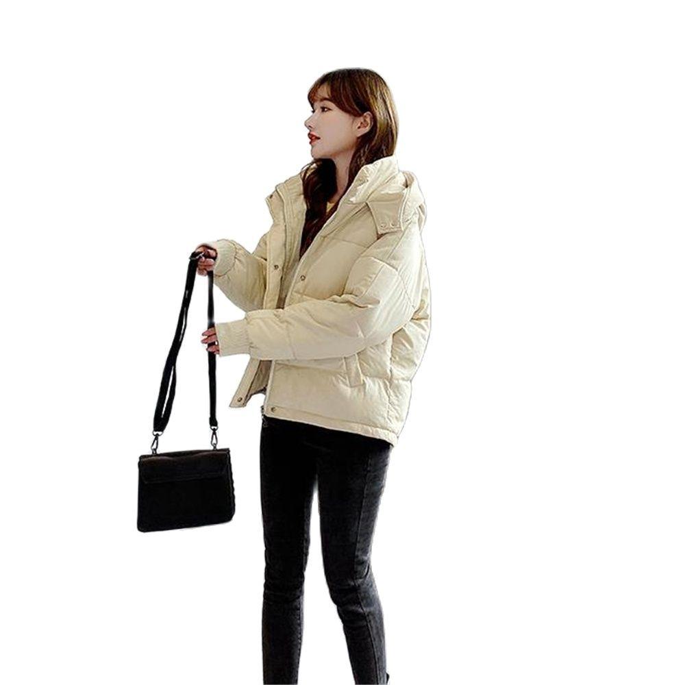 Женская зимняя и осенняя куртка с хлопковой подкладкой и капюшоном, Свободная Женская Толстая куртка большого размера, Короткие однотонные...
