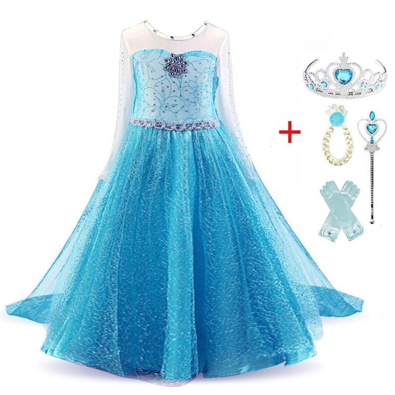 Princess Girls Elsa Dress Cosplay Dresses Snow Costumes For Kids Princess Dress Disfraz Carnaval Vestidor Robe Infantil