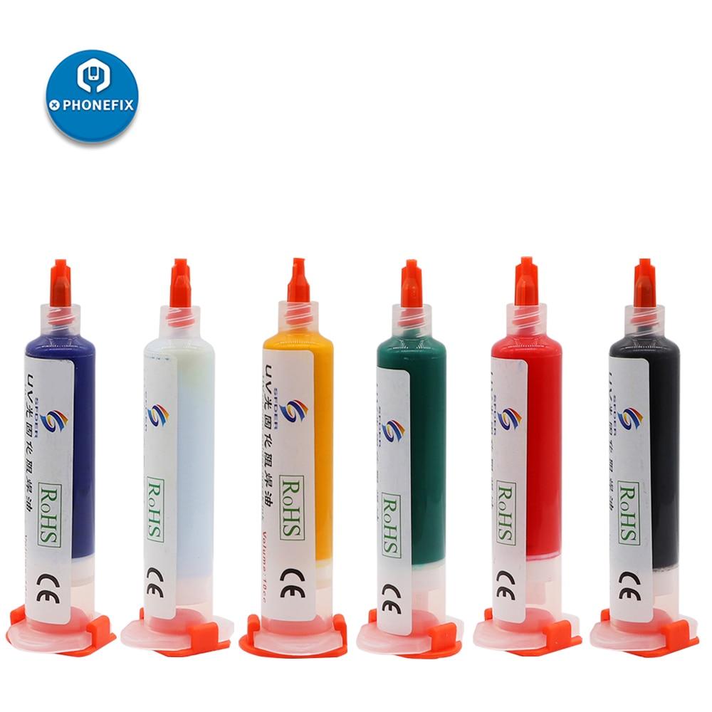 10CC UV Curable Solder Resist Oil UV Solder Mask BGA PCB Paint Prevent Corrosive Arcing Soldering Paste Flux PCB UV Green Oil