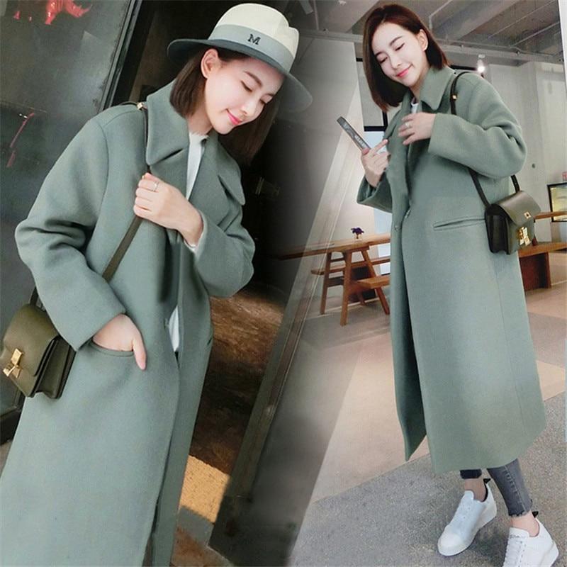 2019 frau Mäntel Winter Koreanische Wolle Mantel Warm Kausal Lange Mantel Schlank Verdicken Mantel Plus Größe Grau Mantel Lange Poncho mantel Frauen