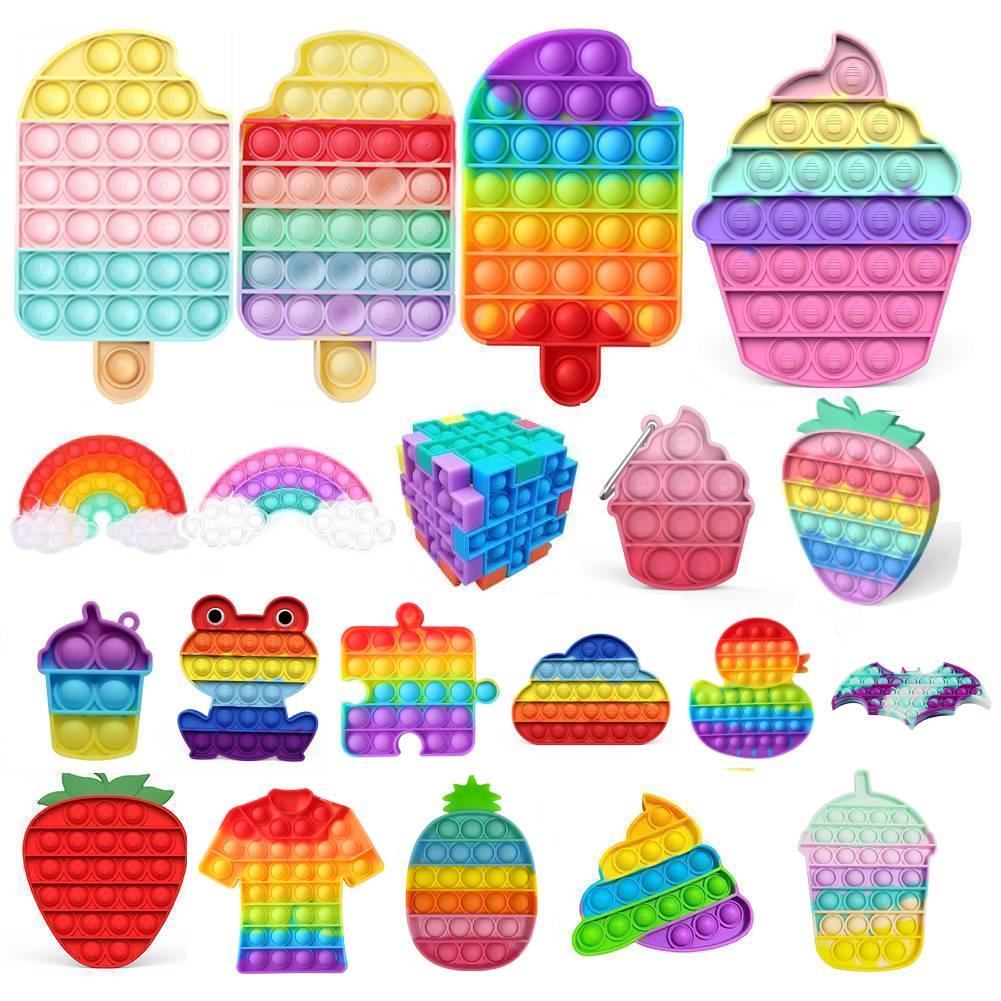 Push Bubble Rainbow Sensory Fidget Toy Squishy Stress Reliever Autism Needs Anti-stress Toys for Adult Children антистресс попит