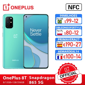 Global Rom OnePlus 8T 8 T OnePlus Official Store 8GB 128GB Snapdragon 865 5G Smartphone 120Hz AMOLED fluide écran 48MP Quad Cams 4500mAh 65W chaîne; code:FRFEB8(€80-8);FRFEB12(€100-12);FRFEB20(€180-20)