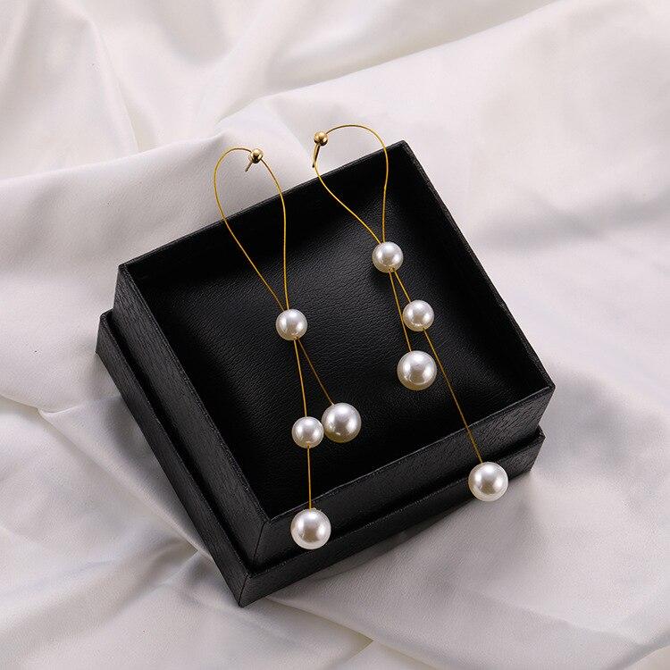 Elegante pendientes flecos 2019 feminino longo brinco pérola charme pendente cobra corrente borla brinco nupcial jóias de casamento