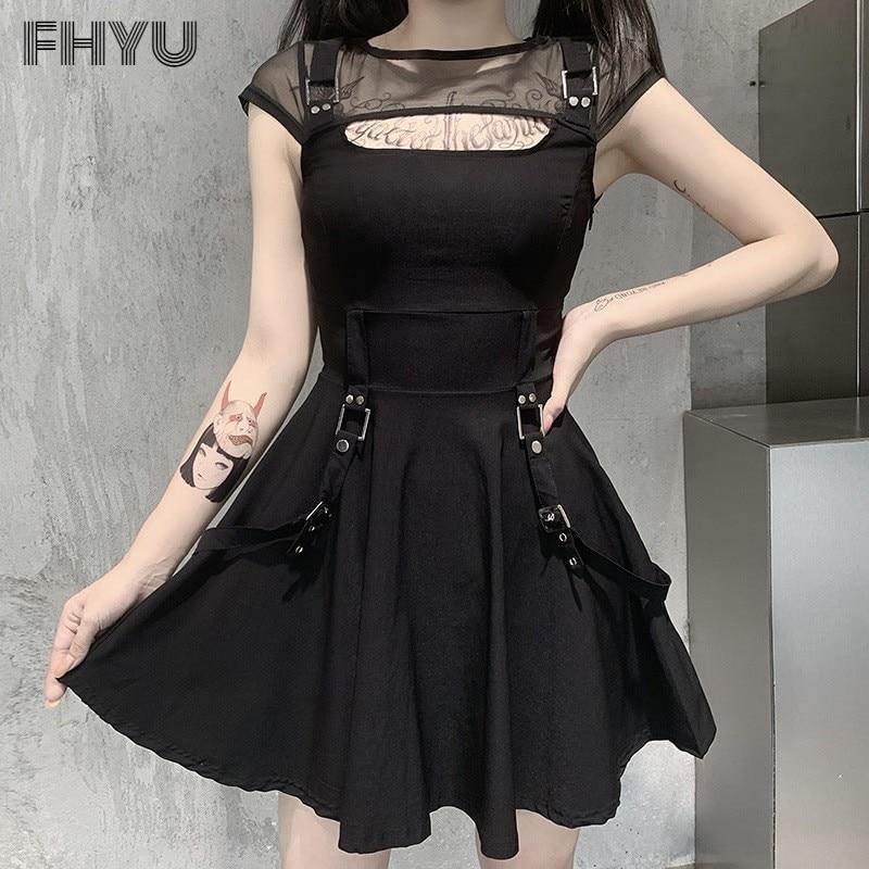 FHYU Gothic Net Yarn Breathable Splicing Sexy Black Dress Women Punk Style Street Trend Backless Ins Clothing Female S~L 92009