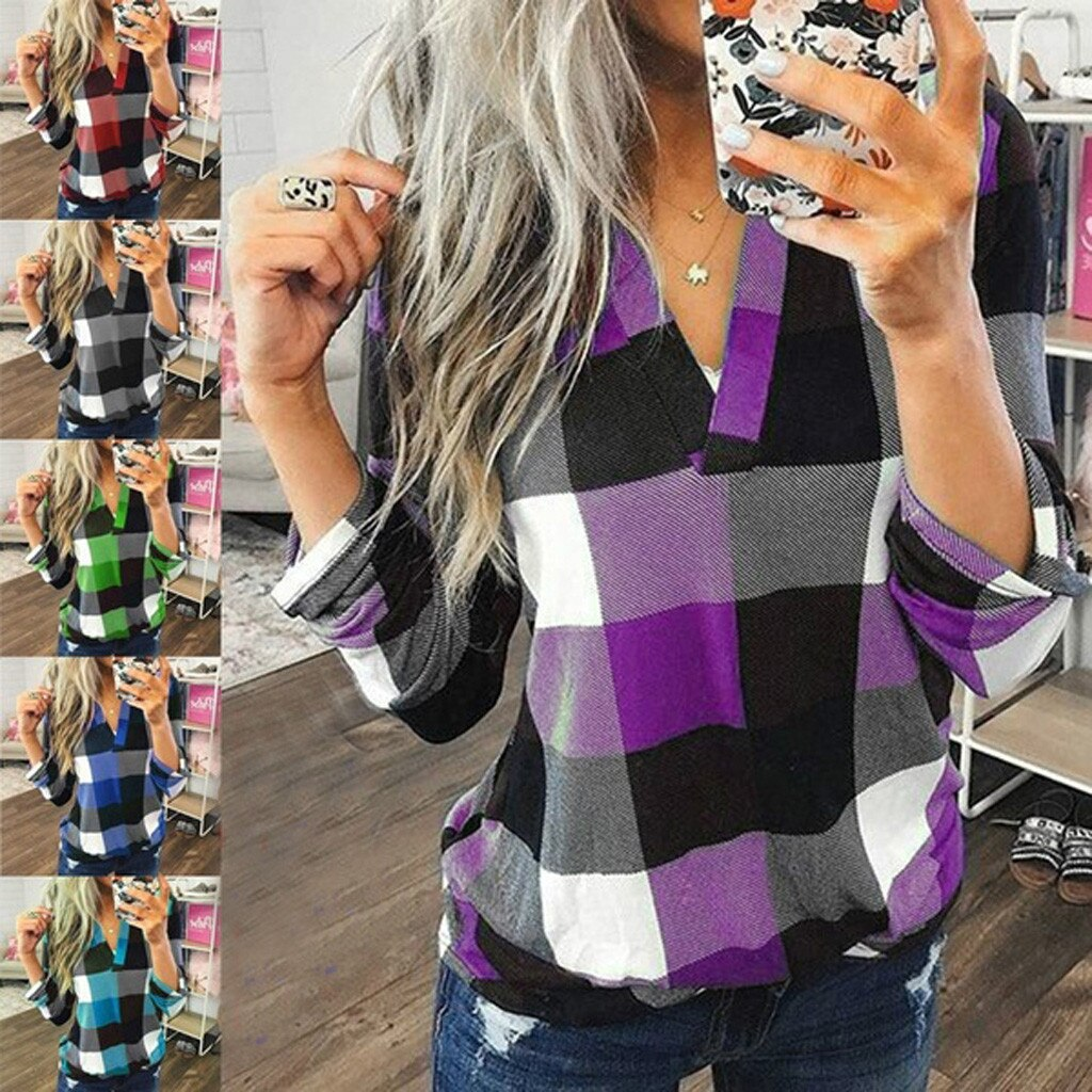 1046 Women Casual Cotton Long Sleeve Plaid Shirt Women's Slim Jacket Shirt Top Slim Jacket Shirt Top clothing tops T-shirt