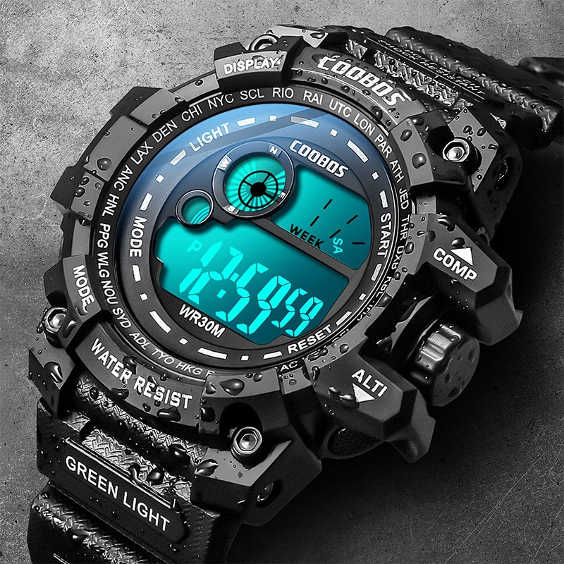 Top Brand COOBOS Outdoor Life Waterproof Men's Digital Watch Sports Fitness Date Clock Male Week Mon