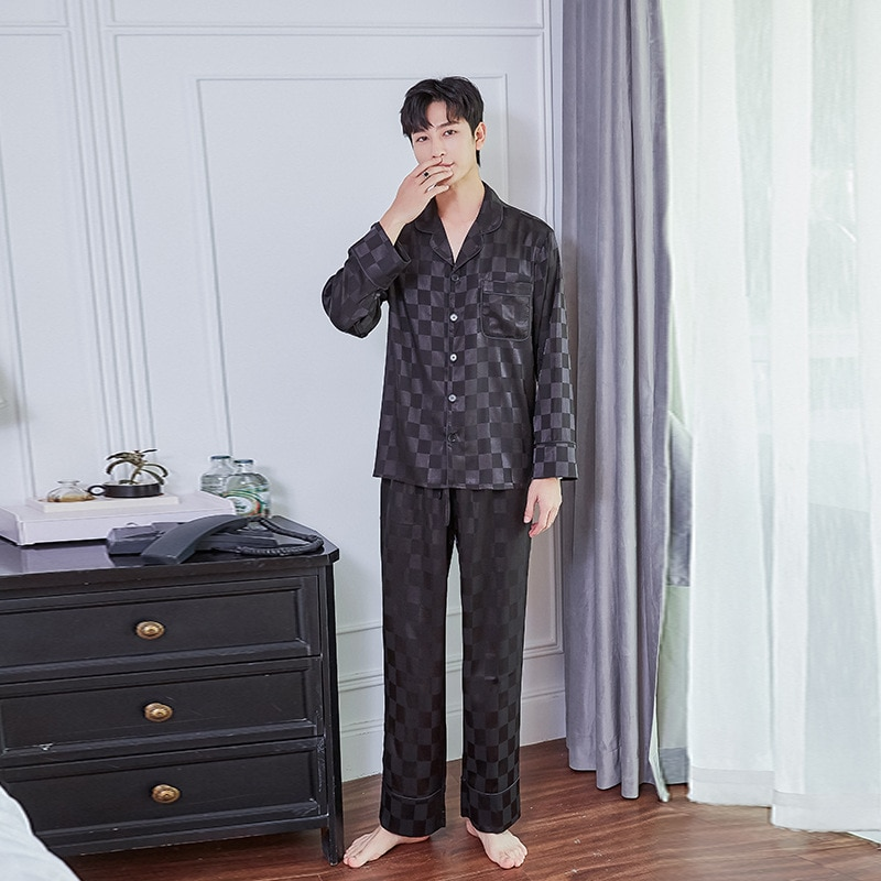Весна мужчины% 27 шелк имитация пятно тонкие дышащие длинные рукава пижама костюм папа дом одежда