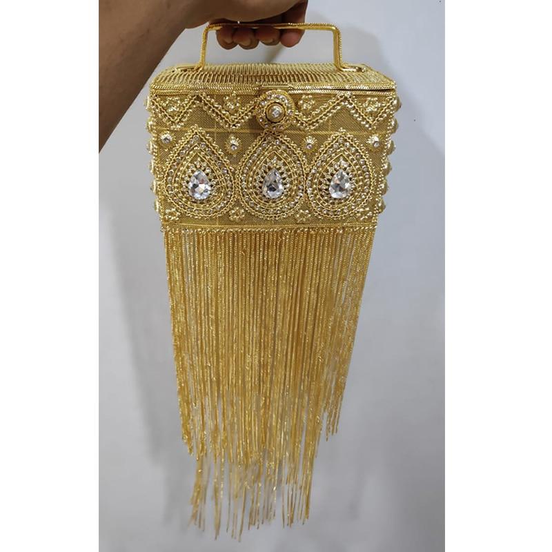 DOYUTIG الهند تصميم المرأة شرابات طويلة يدوية الصنع حجر الراين الخرز صندوق براثن سيدة الكلاسيكية صندوق مساء حقائب لحفل الزفاف F697