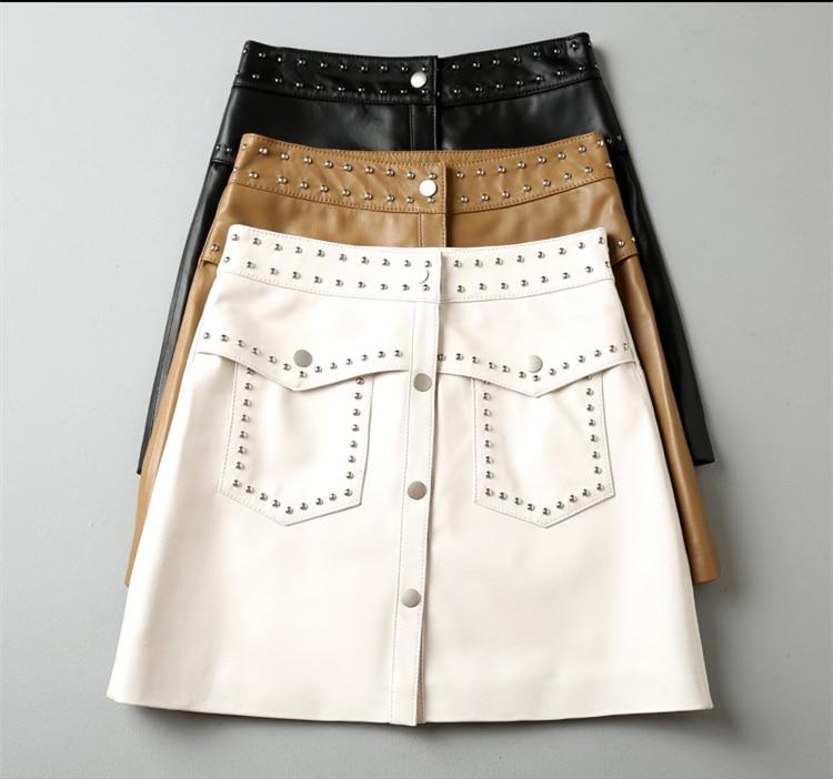 new autumn and winter Fashion casual brand female women girls Genuine leather mini skirts