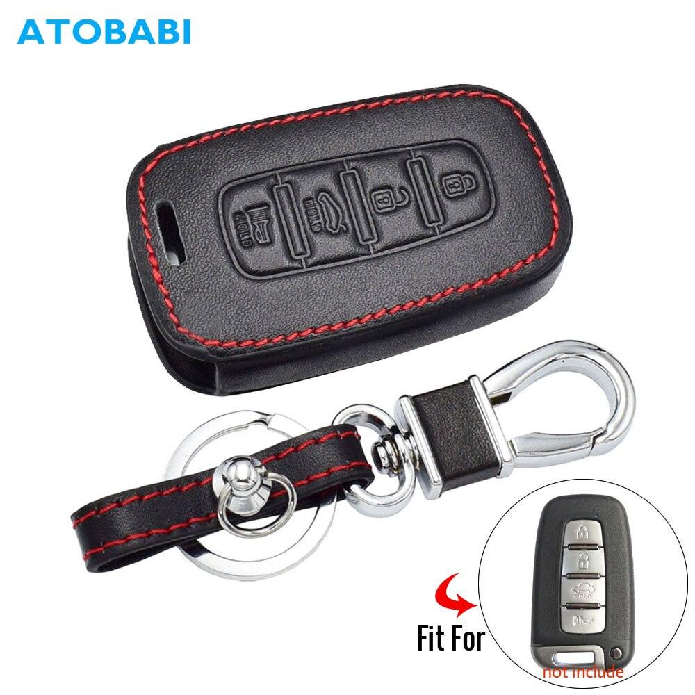 Caso chave do carro de couro real para kia k5 sportage sorento forte shuma borrego hyundai inteligente remoto fob capa chaveiro protetor saco