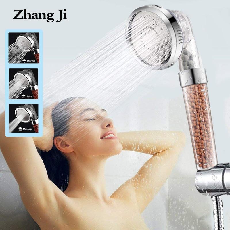 Регулируемая насадка для душа ZhangJi, 3 режима, экономичная насадка для душа высокого давления, Анионный фильтр для ванной комнаты, насадка для спа-душа