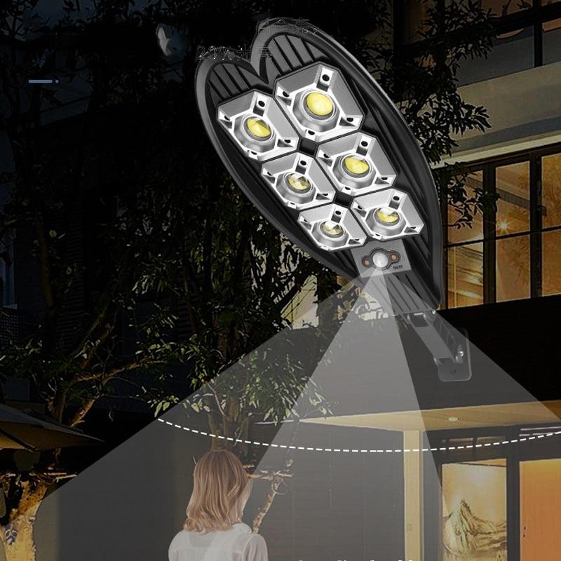 160COB الشمسية مصباح ليد للشارع مقاوم للماء الذكية التحكم عن بعد PIR محس حركة مصباح 1500 واط في الهواء الطلق حديقة الأمن الجدار الخفيفة