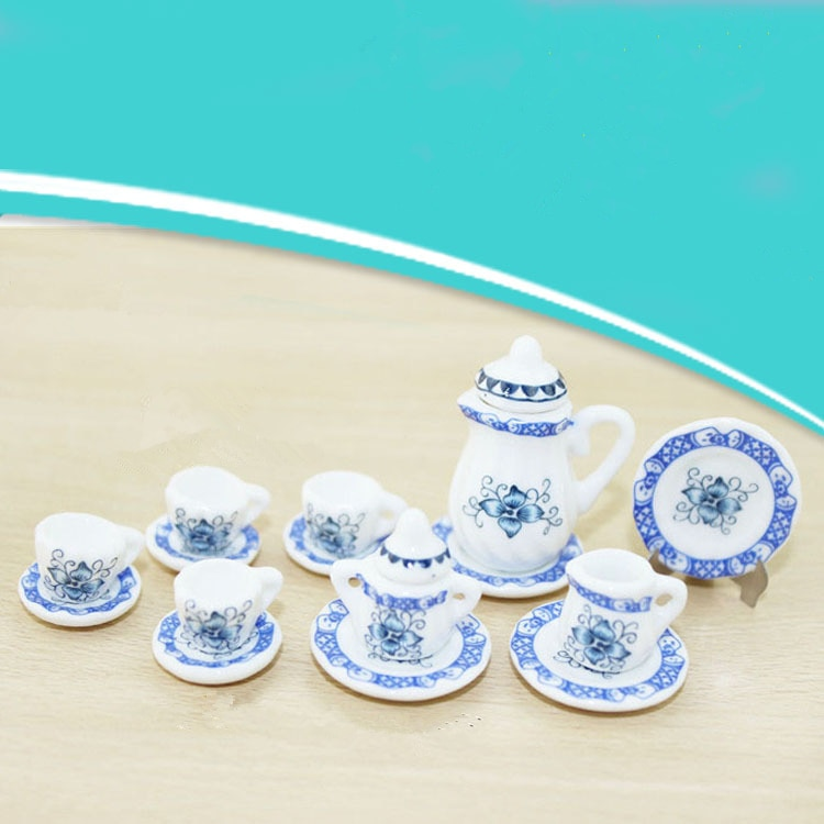 Casa de muñecas de cerámica en miniatura, porcelana azul y blanca, juego de té, plato, plato, accesorios de cocina para casa de muñecas
