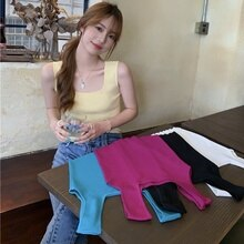 Knitted Small Tank Top Vest Women's Summer 2021 New Fashion Slim Fit Slimming All-Matching Outer Wea
