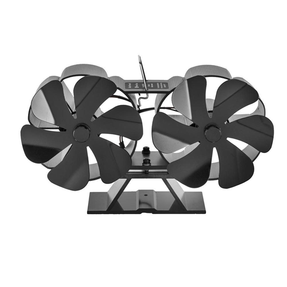 موقد أسود مزدوج الرأس ذو كفاءة عالية تبديد الحرارة 12 شفرة الخشب الموقد الصامت ارتفاع درجة الحرارة الموقد مروحة SF707T
