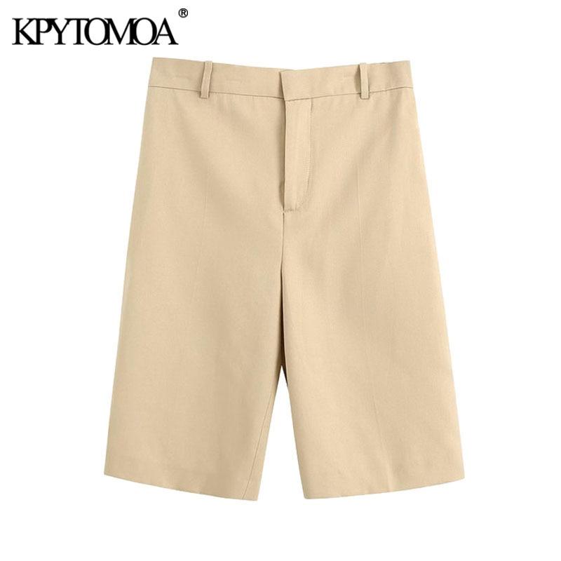 Kpytomoa 2020 chique moda escritório usar bolsos laterais shorts retos vintage cintura alta com zíper feminino curto panelas mujer