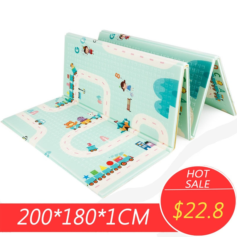 200x180x1cm bébé escalade tapis de jeu dessin animé réversible Portable pliable Pad Xpe Puzzle tapis sol chambre ramper Puzzle tapis
