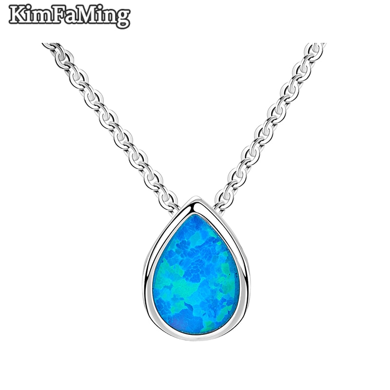 Small Acute 925 Silver Pear Shape Opal  Pendant Necklaces Jewelry for Young Girls Party BirthdayOPP137
