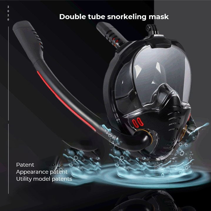 Snorkeling Mask Full Face Double Tube Silicone Dry Diving Adult Swimming Goggles