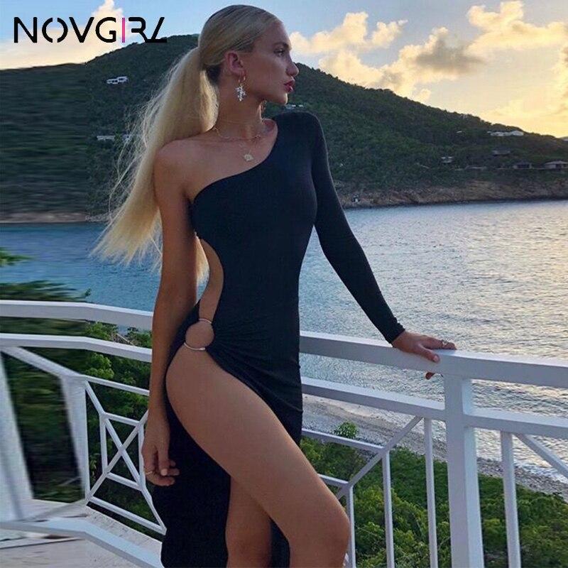 Novgirl un hombro de manga larga anillo de Metal ahuecado alto partido vestido Sexy mujeres Irregular ceñido Clubwear vestido de fiesta Midi