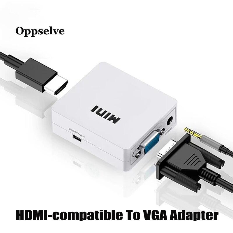 Адаптер HDMI-совместимый с Mini HD 1080P VGA преобразователь с Аудио Видео боксом адаптер для ноутбука ПК ноутбука для HD ТВ проектора ТВ