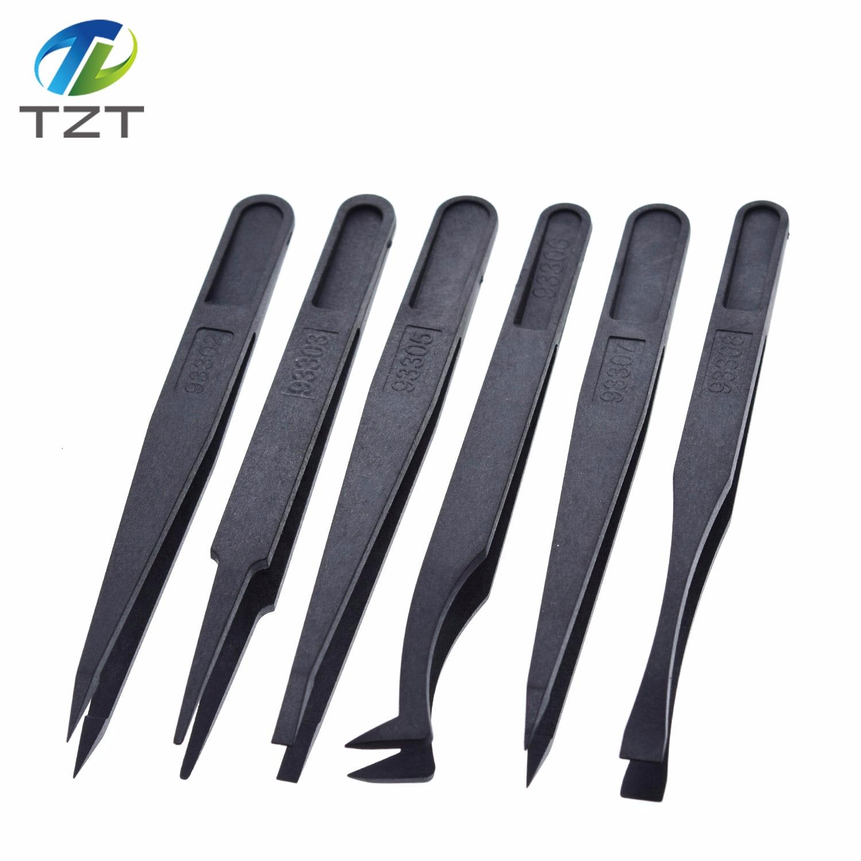 TZT 6 шт. антистатические электронные пинцеты комплект ESD пластиковые щипцы PCB ремонт ручные инструменты набор