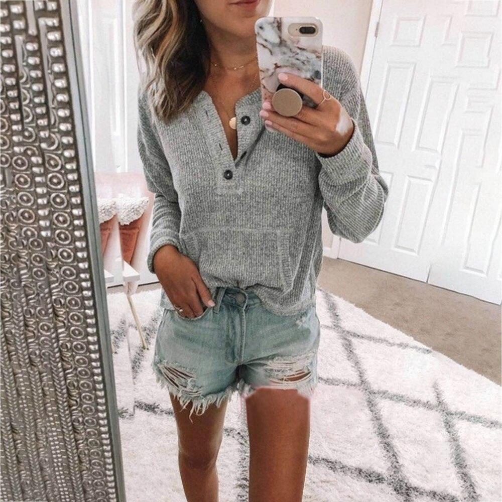 Litthing 2019 Casual Camisetas Mujer Slim Fit manga larga Henley camisetas otoño cuello pico punto botón más tamaño señoras Tops