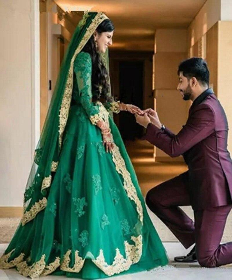 فساتين زفاف إسلامية من الكريستال ، بأكمام طويلة ، دانتيل أخضر Emelard متواضع ، المملكة العربية السعودية ، قفطان دبي ، فساتين زفاف إسلامية